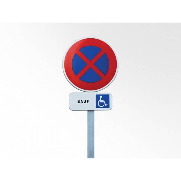 Kit Panneau De Prescription B6d Et Panonceau M6h : Arrêt Et Stationnement Interdit Sauf Pmr