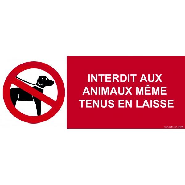 """Panneau """"Interdit aux animaux même tenus en laisse"""""""