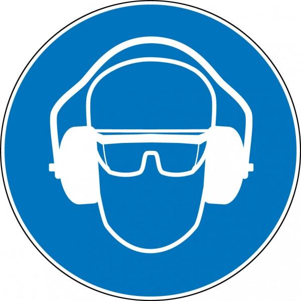 """panneau rond """"protection obligatoire de la vue et de l'ouïe"""""""