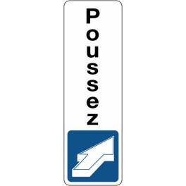 Panneau de Signalétique Poussez - vertical - Fond Blanc