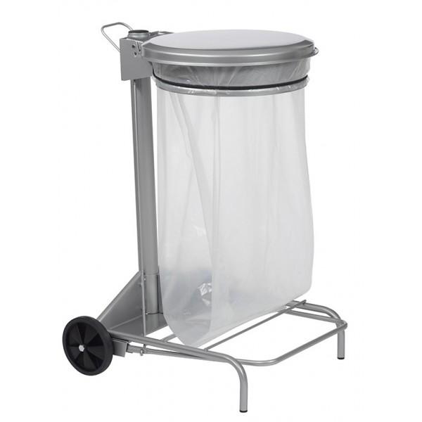 Support mobile pour sac poubelle - 50 L - Gris métal