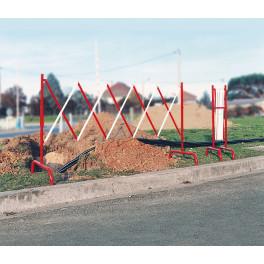Barrière de chantier accordéon - Rouge et blanc