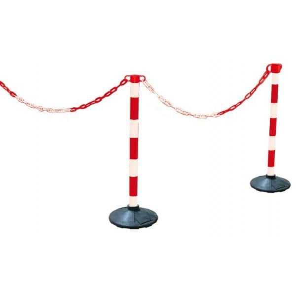 Balise de chantier à poser - Avec chaînes rouge et blanc