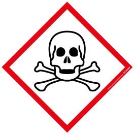 Pictogramme SGH06 Matières Toxiques en vinyle laminé 40x40mm