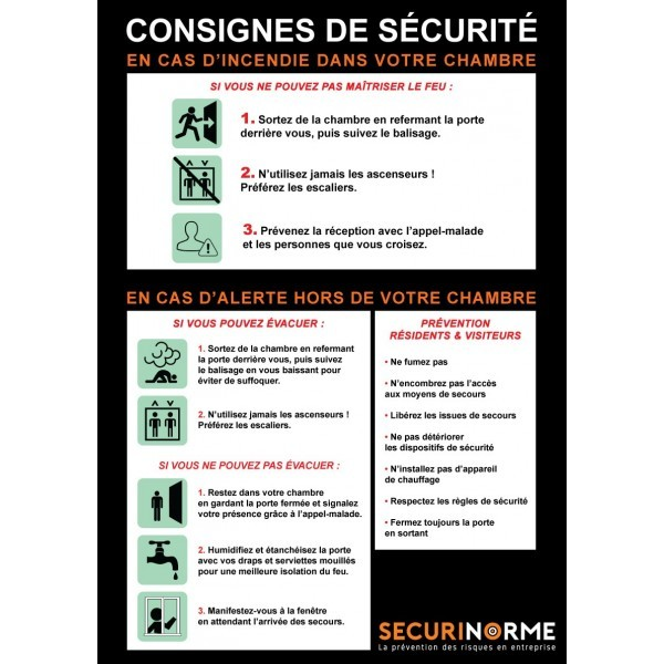 Poster consignes incendie hopital A3