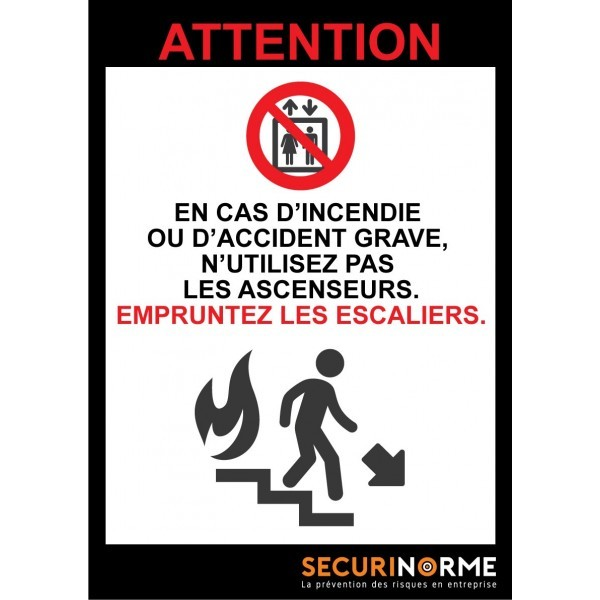 Poster consignes évacuation escaliers A3