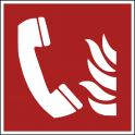 """Panneau ISO EN 7010 """"Téléphone à utiliser en cas d'incendie"""" F006"""