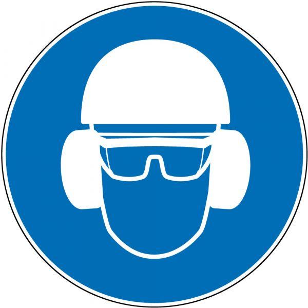 """panneau rond """"protection obligatoire de la tête, de la vue et de l'ouïe"""""""