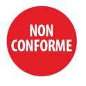 """Pastilles adhésives permanentes avec texte """"Non conforme"""""""