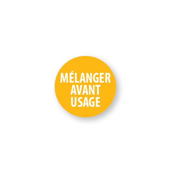 """Pastilles adhésives permanentes avec texte """"Mélanger avant usage"""""""