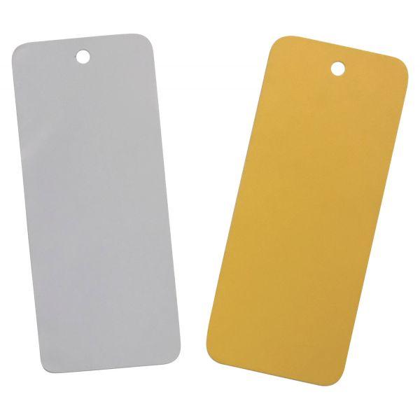 Plaquette d'inspection / Etiquettes PVC - oeillet americain - 5 formats - 5 couleurs
