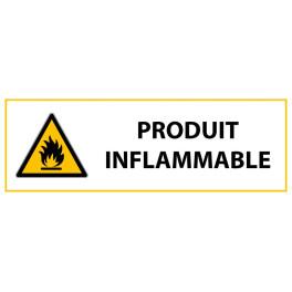 """Panneau de Danger """"Produit inflammable"""" Vinyle 297x105mm"""
