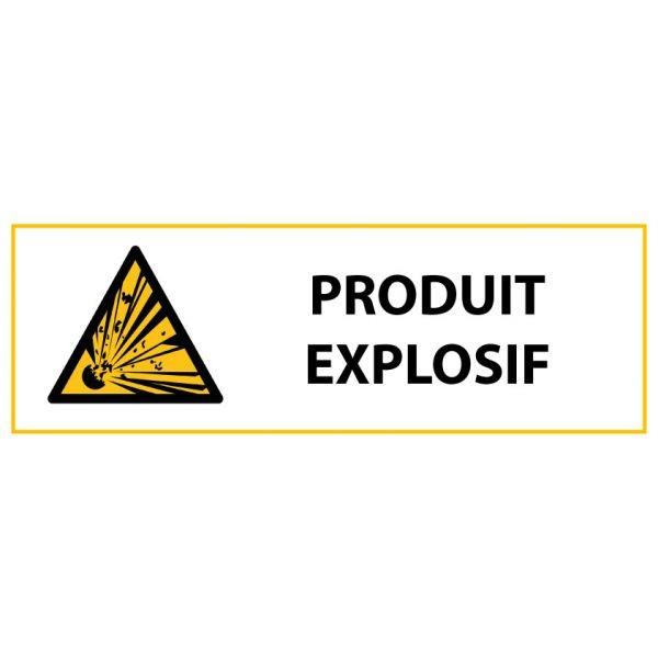 """Panneau de Danger """"Produit explosif"""" Vinyle 297x105mm"""