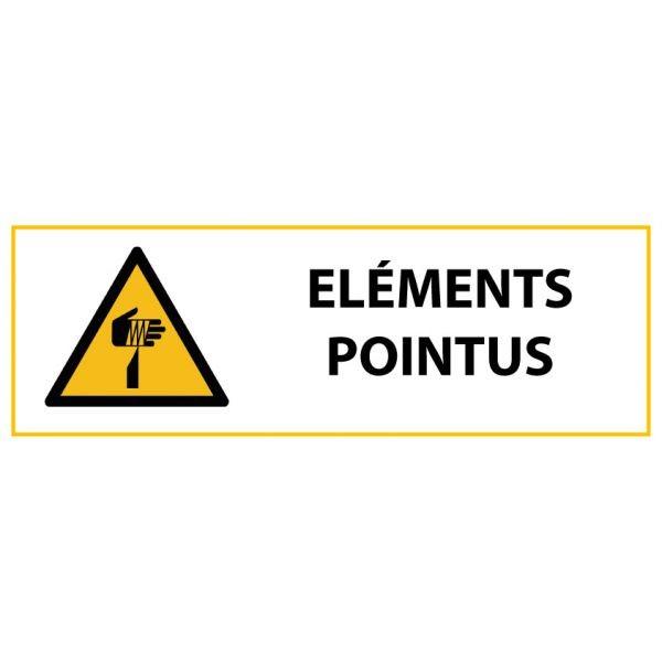 """Panneau de Danger """"Eléments pointus"""" Vinyle 297x105mm"""