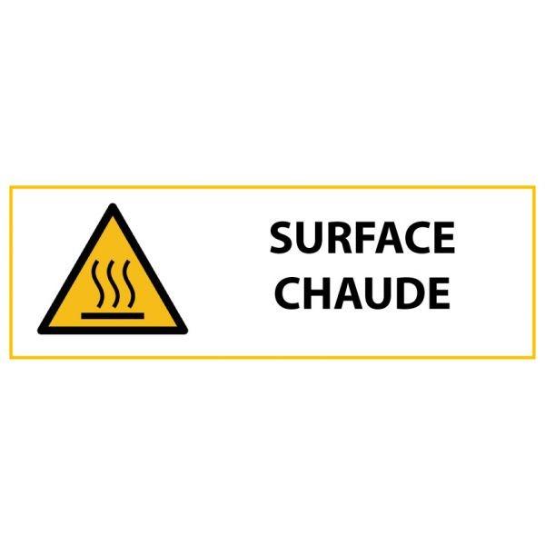 """Panneau de Danger """"Surface chaude"""" Vinyle 297x105mm"""