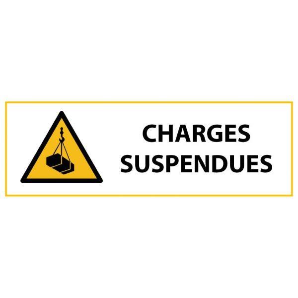"""Panneau de Danger """"Charges suspendues"""" Vinyle 297x105mm"""