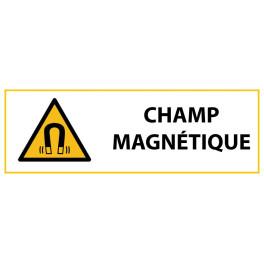 """Panneau de Danger """"Champ magnétique"""" Vinyle 297x105mm"""