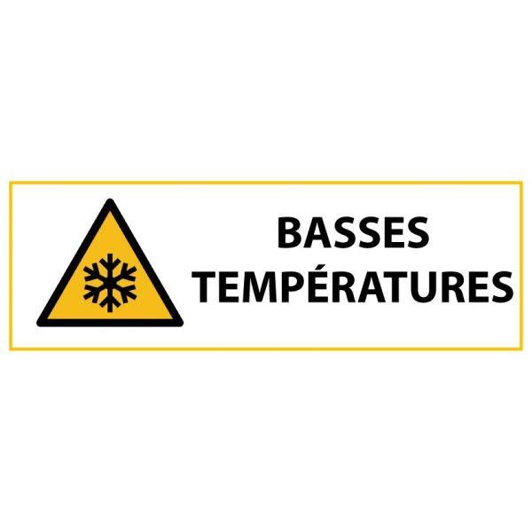 """Panneau de Danger """"Basses températures"""" Vinyle 297x105mm"""
