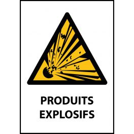 """Panneau de Danger """"Produit explosif"""" Vinyle A5"""