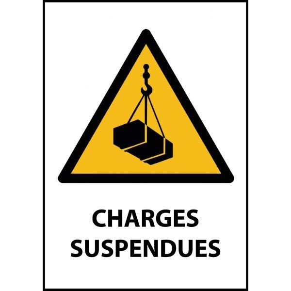 """Panneau de Danger """"Charges suspendues"""" Vinyle A5"""