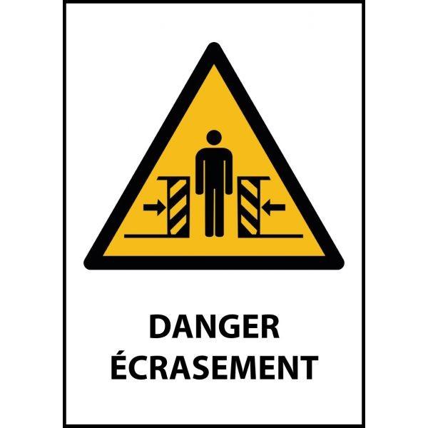 """Panneau de Danger """"Ecrasement"""" Vinyle A5"""