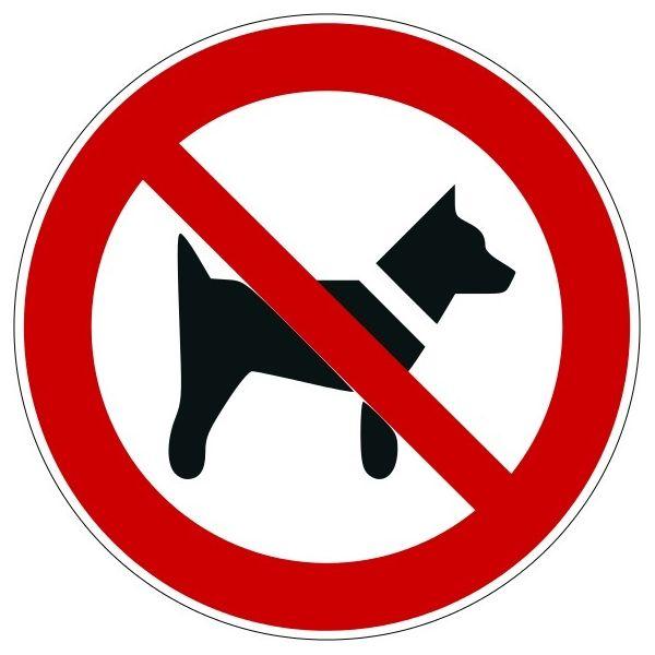 """Panneau rond ISO EN 7010 """"Interdit aux chiens"""" P021"""