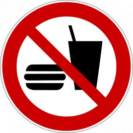 """Panneau rond ISO EN 7010 """"Interdiction de manger et boire"""" P022"""