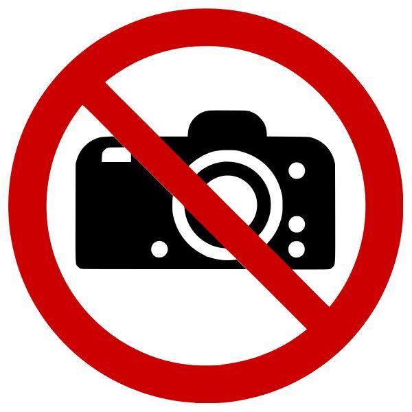 """Panneau rond ISO EN 7010 """"Interdiction de photographier"""" P029"""