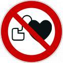 """Panneau rond ISO EN 7010 """"Interdit aux personnes porteuses d'un stimulateur cardiaque"""" P007"""