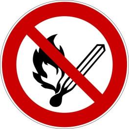 """Panneau rond ISO EN 7010 """"Flammes nues interdites"""" P003"""