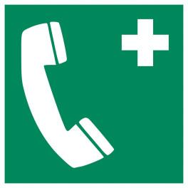 """Panneau Pictogramme Premiers Secours """"Téléphone d'urgence"""" ISO EN 7010"""