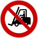 """Panneau rond ISO EN 7010 """"Interdit aux chariots élévateurs à fourche et autres véhicules industriels"""" P006"""