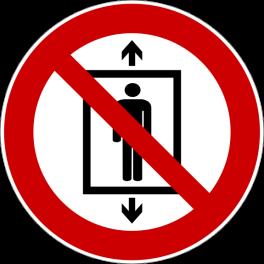 """Panneau rond ISO EN 7010 """"Ne pas utiliser cet ascenseur pour des personnes"""" P027"""