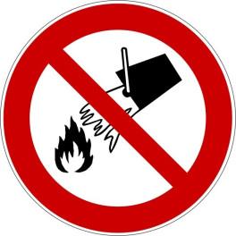 """Panneau rond ISO EN 7010 """"Interdiction d'éteindre avec de l'eau"""" P011"""