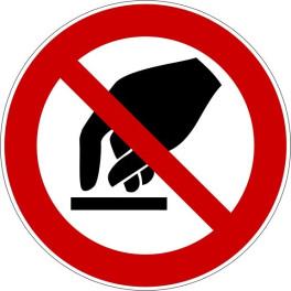 """Panneau rond ISO EN 7010 """"Interdiction de toucher"""" P010"""