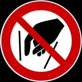 """Panneau rond ISO EN 7010 """"Ne pas mettre les mains"""" P015"""