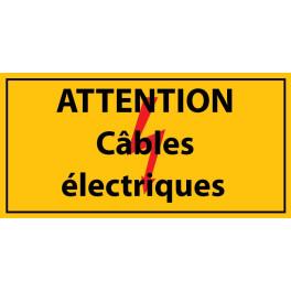 """panneau rectangulaire """" attention câbles électrique """" Vinyle autocollant"""