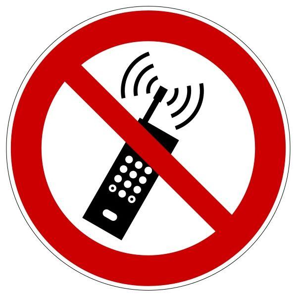 """Panneau rond ISO EN 7010 """"Interdiction d'activer des téléphones mobiles"""" P013 - 200mm"""