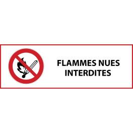 """Panneau d'Interdiction """"Flammes nues interdites"""" Vinyle souple 297x105mm"""