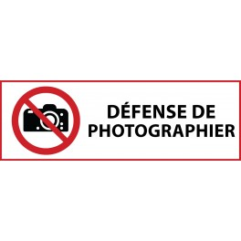 "Panneau d'Interdiction ""Interdiction de photographier"" Vinyle souple 297x105mm"