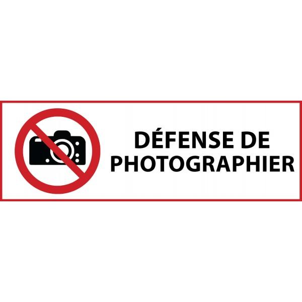 """Panneau d'Interdiction """"Interdiction de photographier"""" Vinyle souple 297x105mm"""