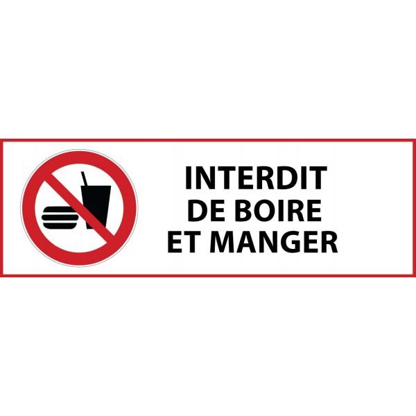 """Panneau d'Interdiction """"Interdiction de manger ou de boire"""" Vinyle souple 297x105mm"""