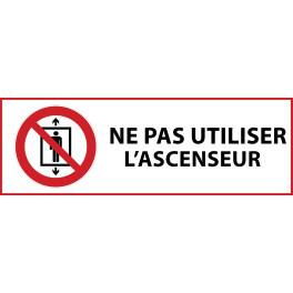 """Panneau d'Interdiction """"Ne pas utiliser cet ascenseur pour des personnes"""" Vinyle souple 297x105mm"""
