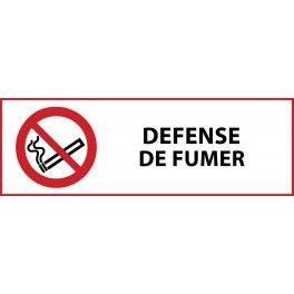 "Pictogramme d'interdiction ""Défense de fumer"" Vinyle 297x105mm"