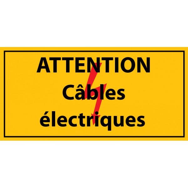 """Panneau rectangulaire """"Attention câbles électriques"""" PVC"""