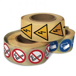 "Rouleau Mini Pictogramme d'obligation ""Casque de protection"" ISO EN 7010"