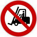 """Rouleau Mini Pictogramme d'Interdiction double-face """"Chariots élévateurs à fourche et autres véhicules industriels"""""""