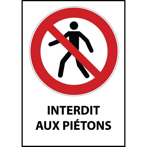 """Panneau d'Interdiction """"Interdit aux piétons"""" Vinyle souple A5"""