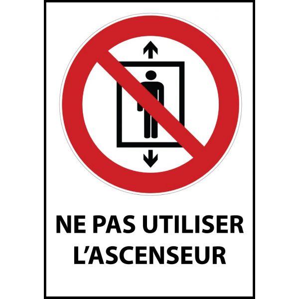 """Panneau d'Interdiction """"Ne pas utiliser cet ascenseur pour des personnes"""" Vinyle souple A5"""
