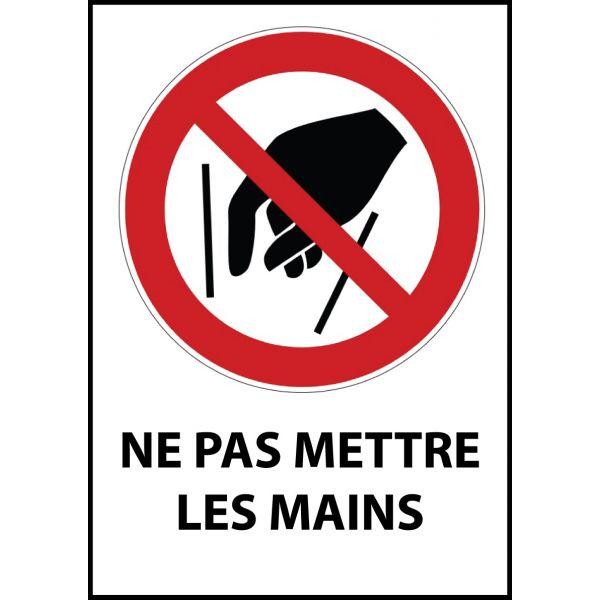 """Panneau d'Interdiction """"Ne pas mettre les mains"""" Vinyle souple A5"""